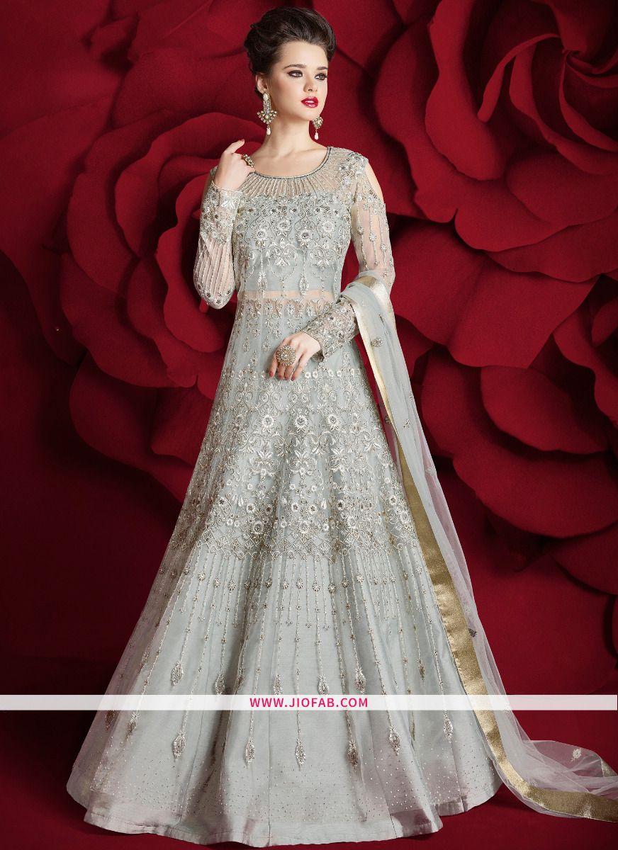c5f72400b59 Shop Online Razzi Vol 2 Light Grey Resham Embroidery Pearl Work Net Stone  Work Floor Length Designer Anarkali Suit