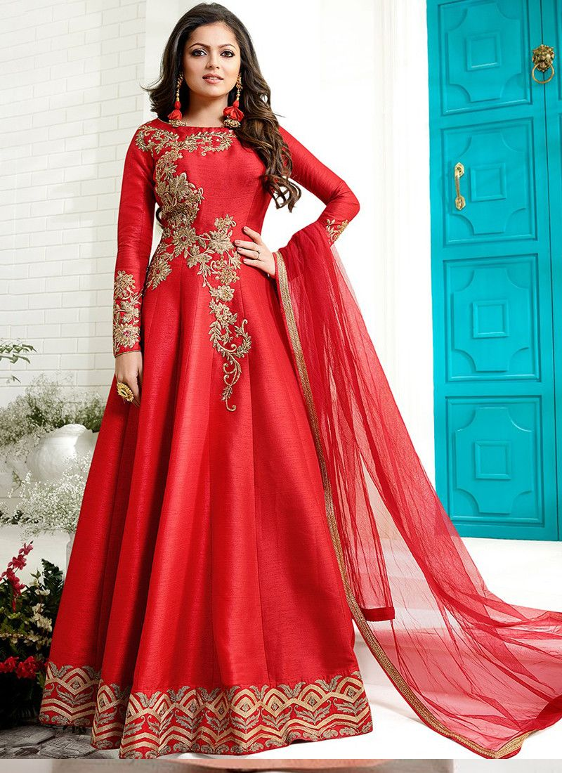 34a40bb1bd7b Buy Online Red Designer Embroidered Fantom Salwar Kameez Dress Design With  Best Price