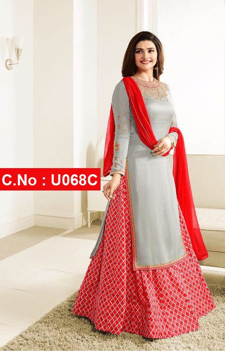 c9ffae3565 Buy Online Red Designer Embroidered Satin Georgette Lehenga Suit - Fashion  For Woman