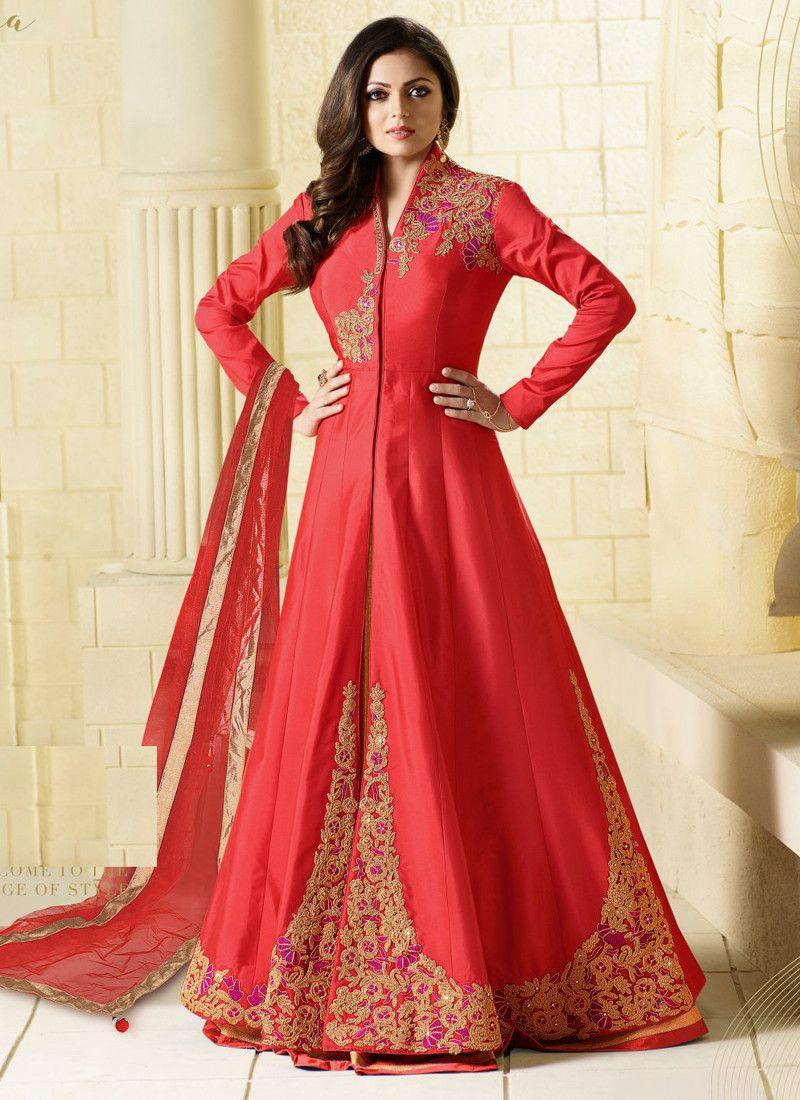 7e5d18b5d99485 Buy Online Red Designer Embroidered Taffeta Silk Semi Stitched Salwar  Kameez Dress