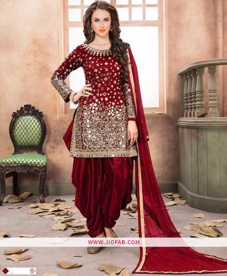 b8d84f0ee5e Red Embroidered Mirror Work Designer Salwar Suit With Georgette Dupatta