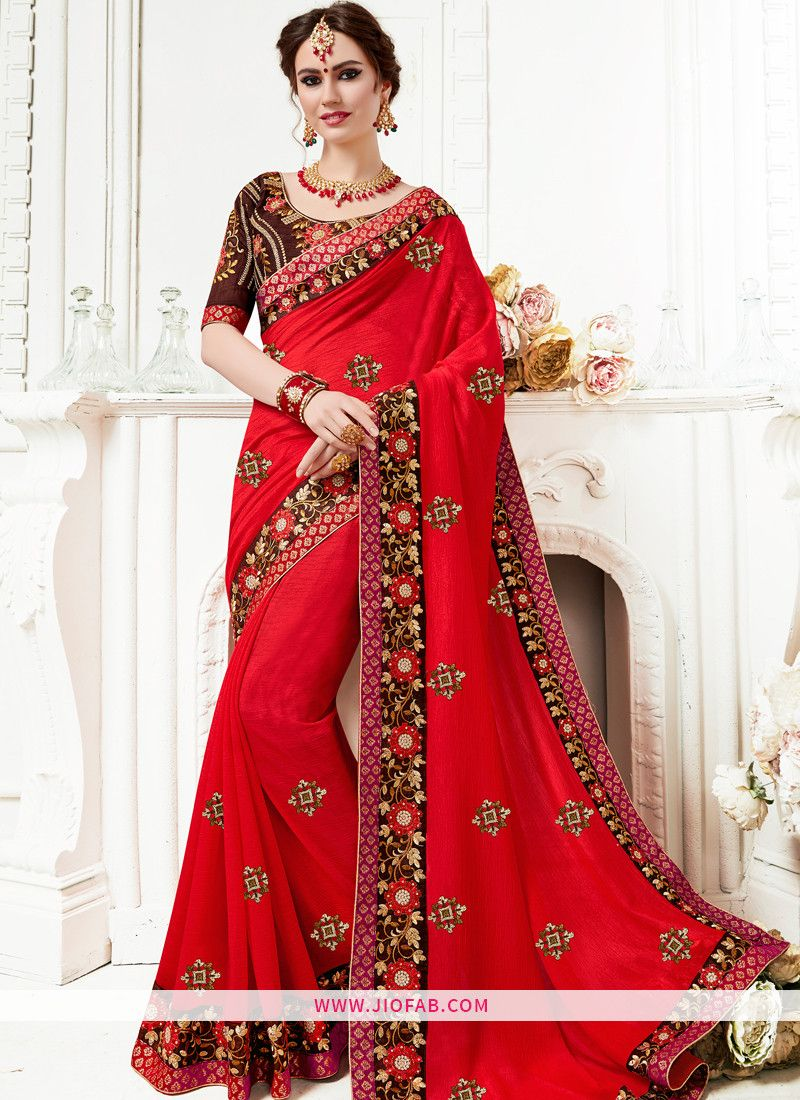 dc4c2a40f1 Shop Red Georgette Embroidered Lace Border Elegant Saree Online