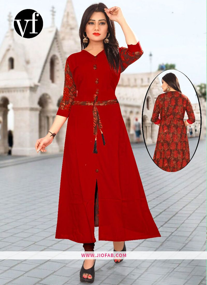 Buy Online Red Stitched Stylish Long Gown Kurti VF Vol 2  9e85078ca