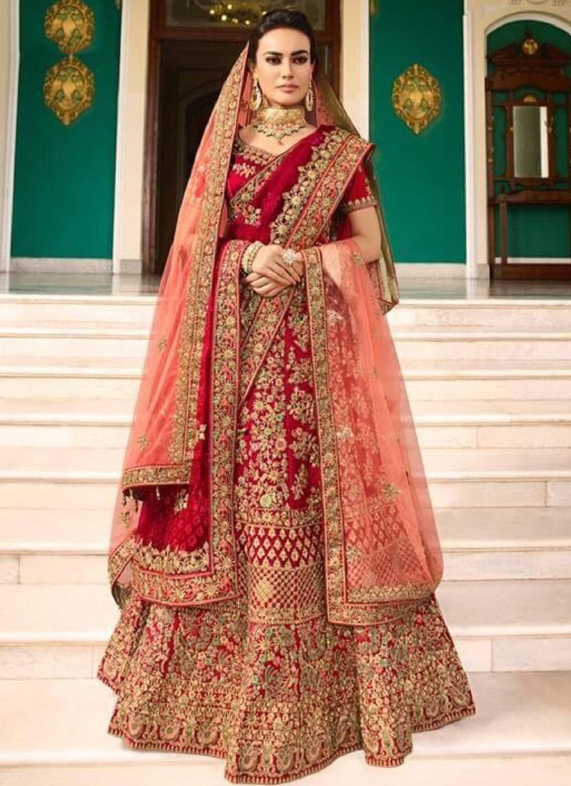 Buy Online Red Velvet Art Silk Wedding Bridal Lehenga Choli With Mono Net Dupatta