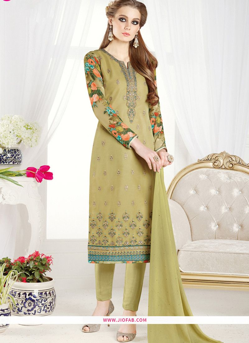 99dfd2222d Shop Online Resham Embroidered Mint Green Color Crepe Silk Designer Salwar  Suit