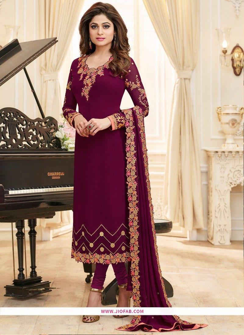 20e2618505 Shop Resham Embroidered Zari Work Georgette Magenta Designer Salwar Suit  Online