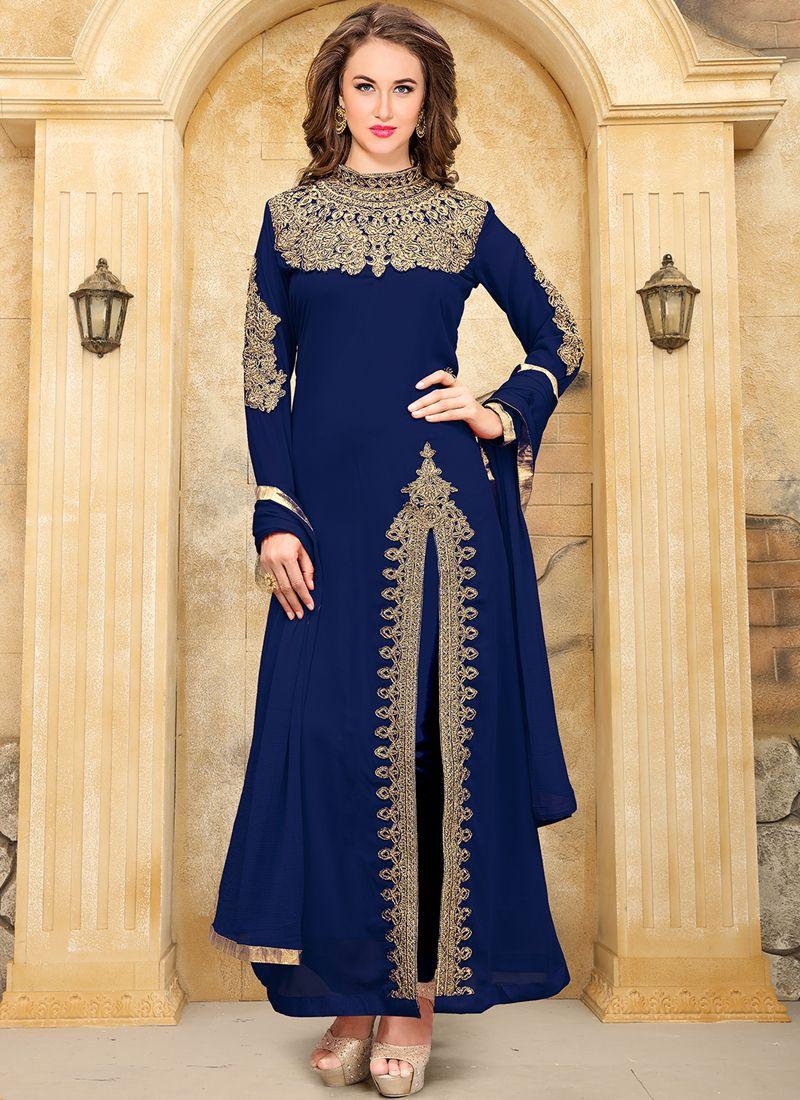 2caa8491b6 Buy Online Royal Blue Faux Georgette Aanaya Festival Punjabi Suit