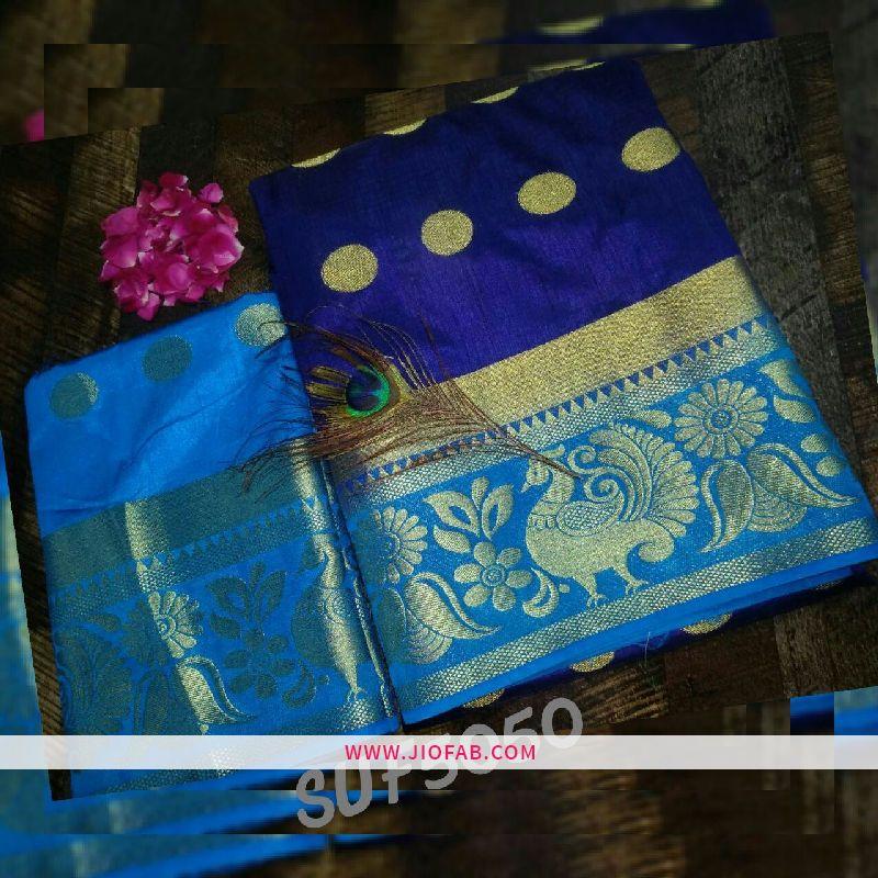 25084178b045c Buy Royal Blue Raw Silk Saree With Peacock Beautiful Border - Silk Saree  Online India