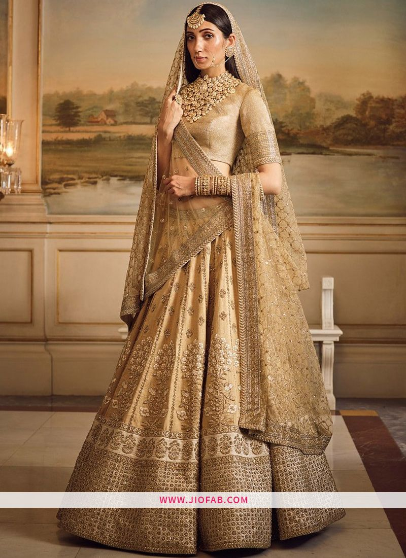 6323da92924 Buy Online Sabyasachi Golden Heavy Embroidery Art Silk Fabric Bridal  Anarkali Lehenga With Bridal Net Dupatta
