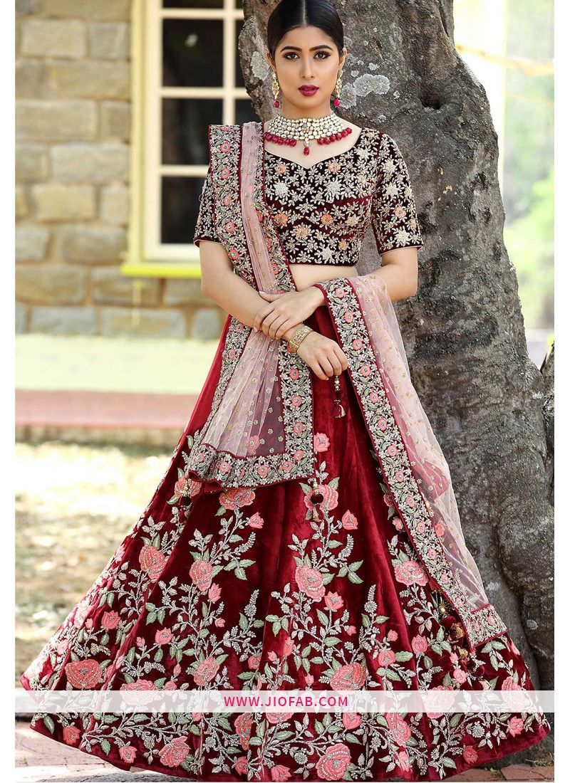 6b73ad748f Buy Sabyasachi Maroon Heavy Embroidery Indian velvet Fabric Bridal Designer  Lehenga With Bridal Net Dupatta Online