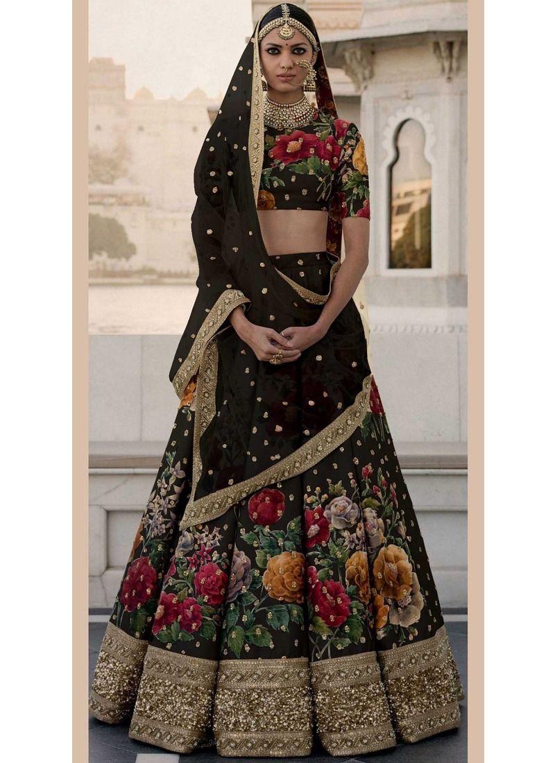 2158db113521f Online Purchase Sabyasachi Mukherjee Art Silk Heavy Bridal Lehenga Choli In  Black Color