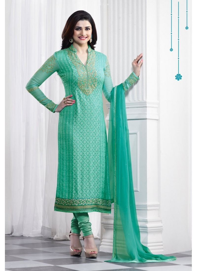 8c5eb65ac8 Shop Sea Green Faux Georgette Churidar Suit Vinay Fashion Online