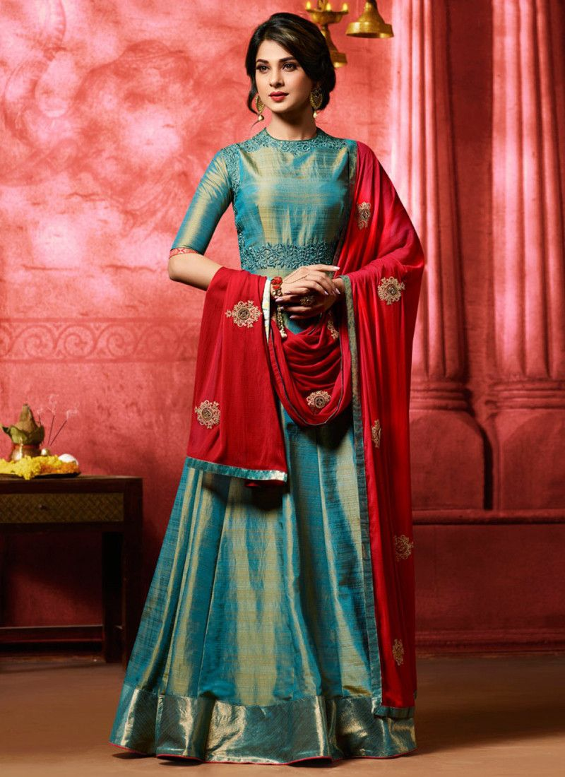 a7ff4043b58 Buy Online Semi Stitched Latest Designer Embroidered Banarasi Silk Salwar  Suit With Best Price