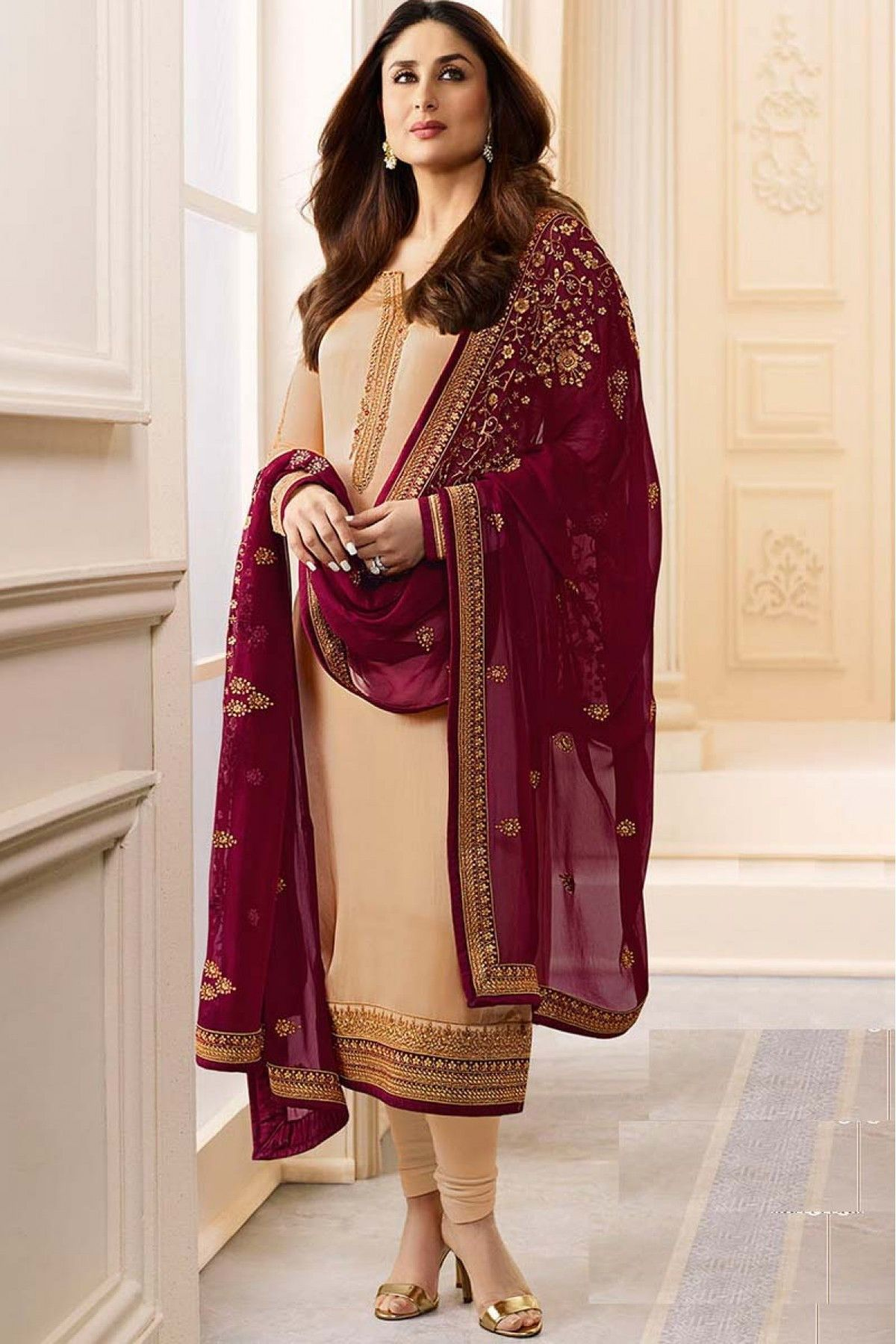 a3ab7832b6f9f Buy Online Semi Stitched Peach Designer Embroidered Satin Georgette Salwar  Suit - Women Indian Store