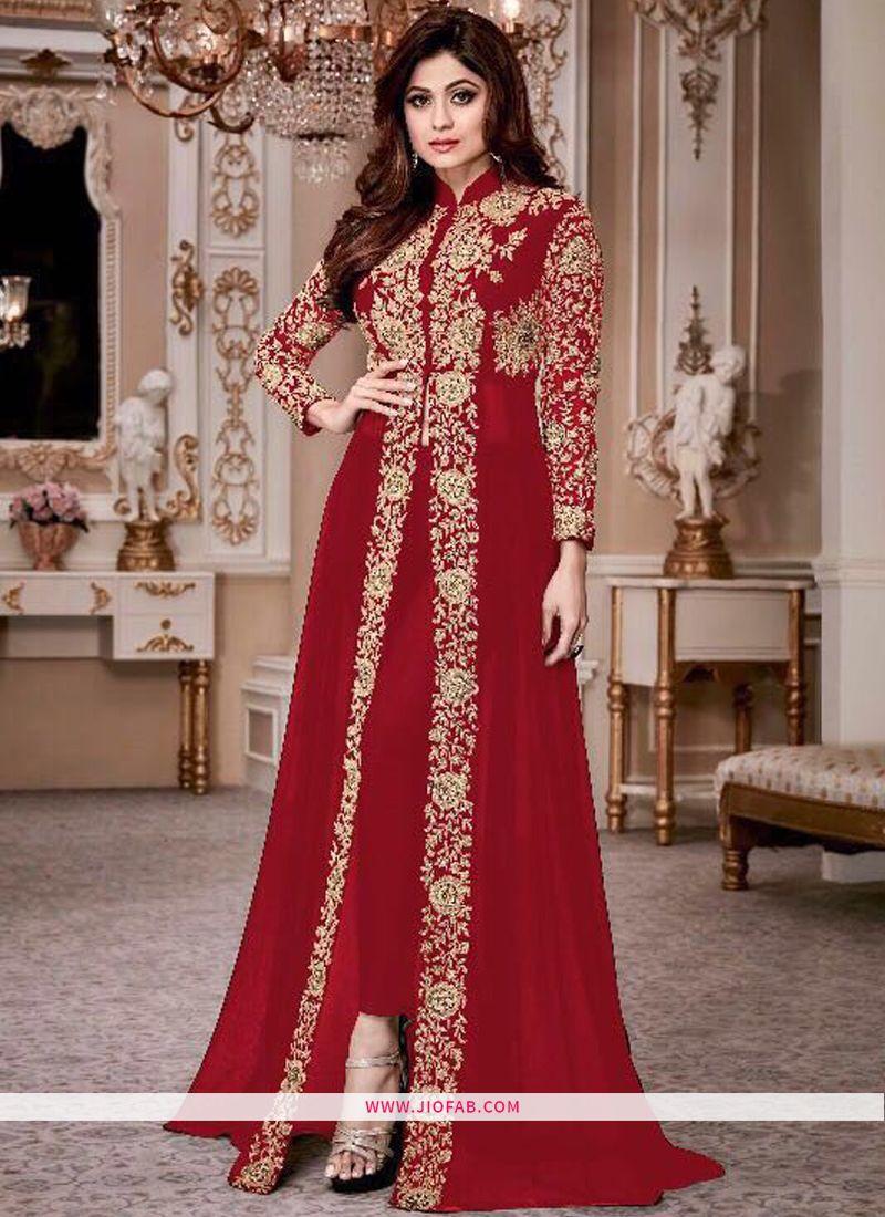 c54cafb784 Shop Shamita Gold 8001 Red Color Latest Indian Georgette Floor Length Salwar  Suit Online
