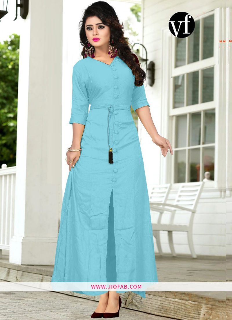 3f50333552 Buy Now Sky Blue Hit Design Long Kurti With All Buttons Stitched And Belt    Women Clothing Online