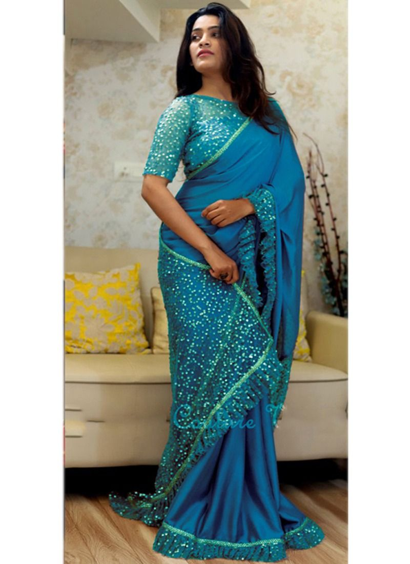 Sky Blue Paper Silk Naylon Net Indian Designer Saree With Blouse Piece