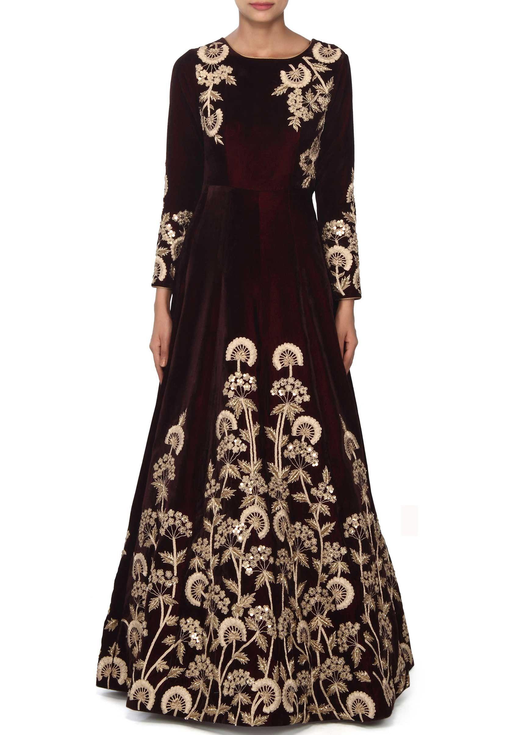 Buy Online Summer Style Women Gown In Brown Color With Aari ...