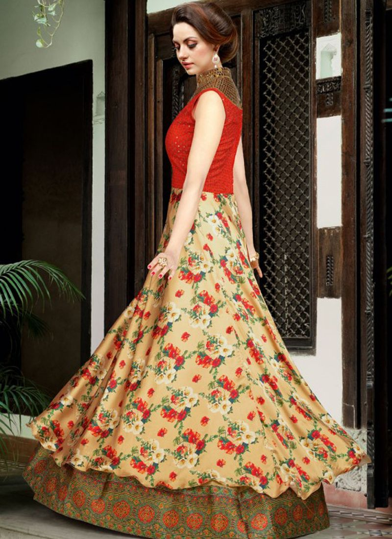 7e31185530 ... Swagat Beige Satin Gown Style Anarkali Salwar Suit. Skip to the end of  the images gallery. Skip to the beginning of the images gallery
