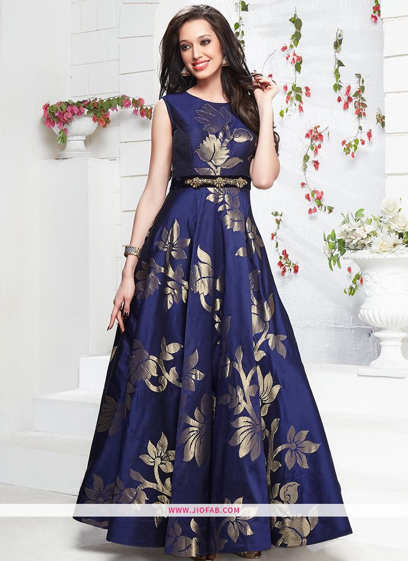 ba492cd4b8625 Buy Online Taffeta Silk Navy Designer Gown For Wedding Party