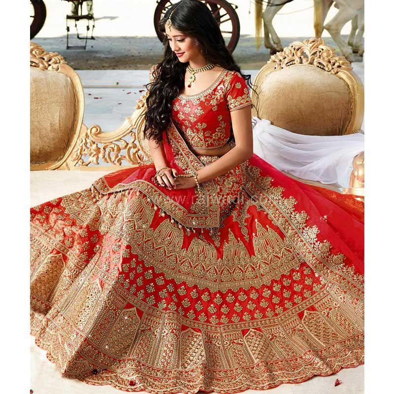 1bb2ae5279 Shop Taffeta Silk Red Bridal Lehenga With Heavy Naylon Net Dupatta Online    SN-71
