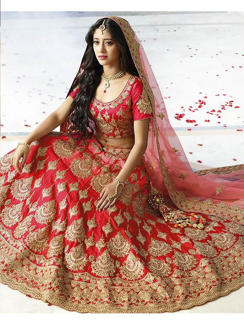 5cb4978bfb Buy Taffeta Silk Red Wedding Designer Lehenga With Heavy Naylon Net Dupatta  Online | SN-73