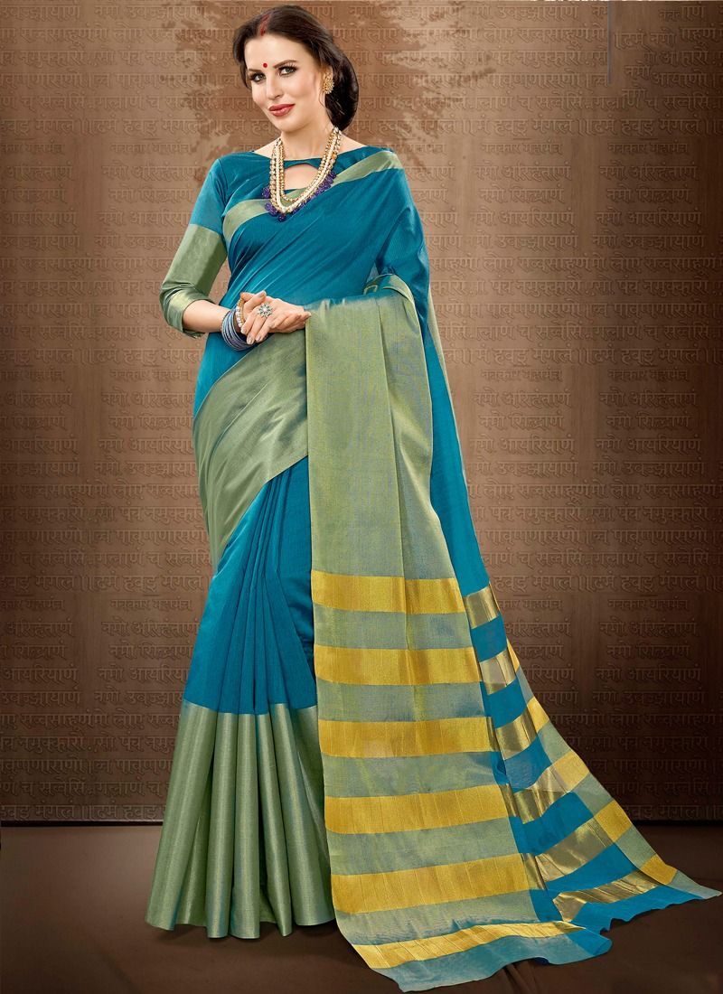 86ef85be16dc24 Online Purchase Traditional Sea Green Color Weaving Cotton Handloom Silk  Saree