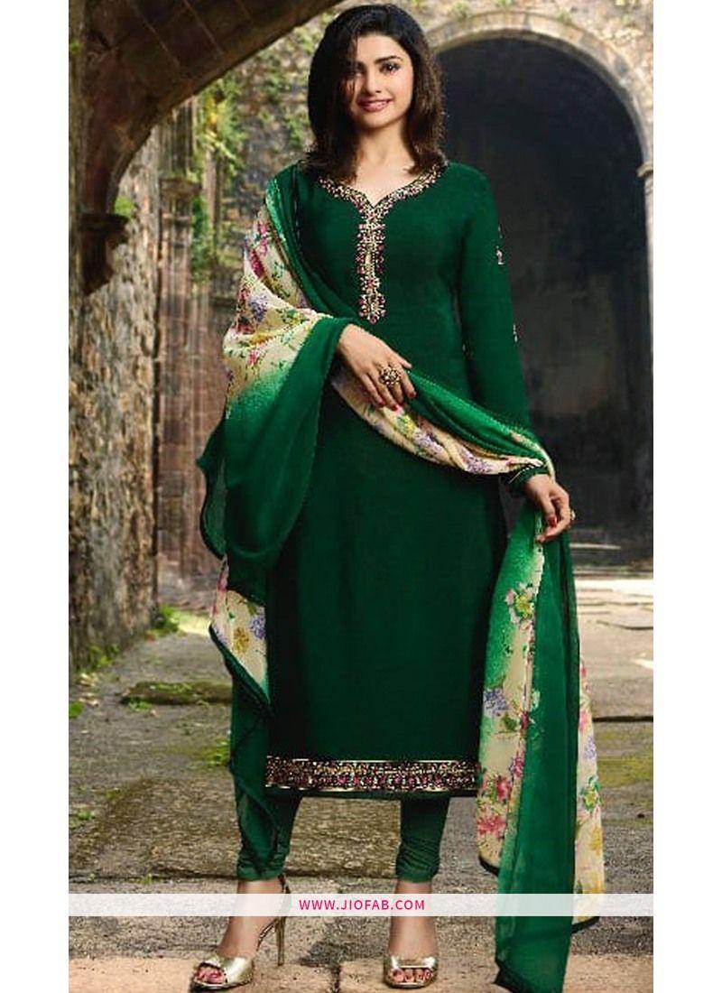 Shop Online Wedding Designer Embroidered Dark Green Crepe Salwar Suit