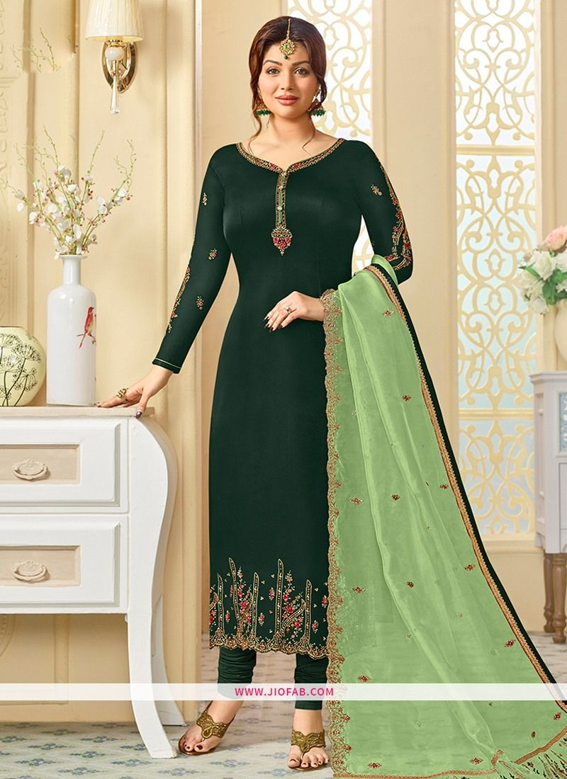 c135a8d973 Shop Online Wedding Designer Embroidered Dark Green Satin Georgette Salwar  Suit