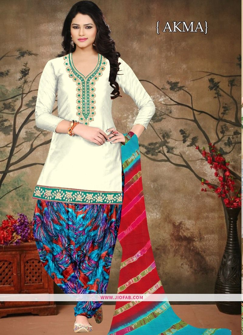922ba31883 Buy Wedding Designer Embroidered Off White Colour Cambric Cotton Patiyala  Suit Online