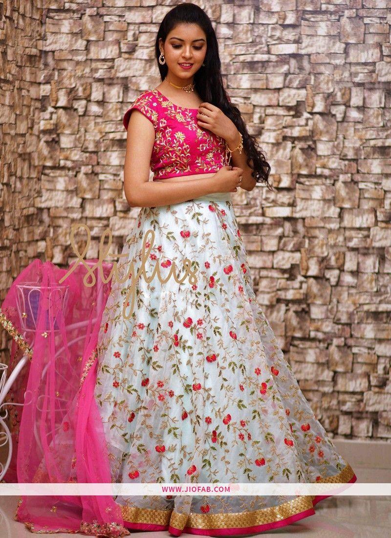 f399f42319 Buy Online White Party Wear Designer Lehenga Choli With Naylon Mono ...