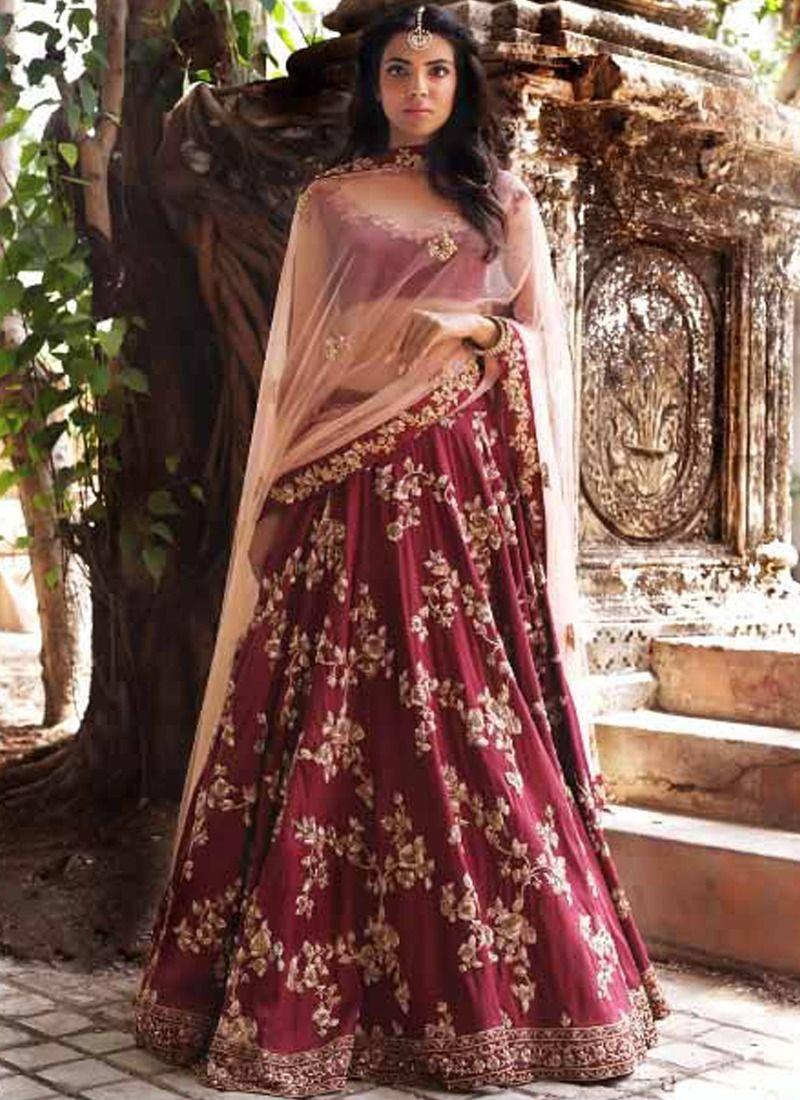 4f9ec7cf86 Buy Online Wine Embroidered Heavy Bridal Lehenga Choli With Malai Satin  Fabric