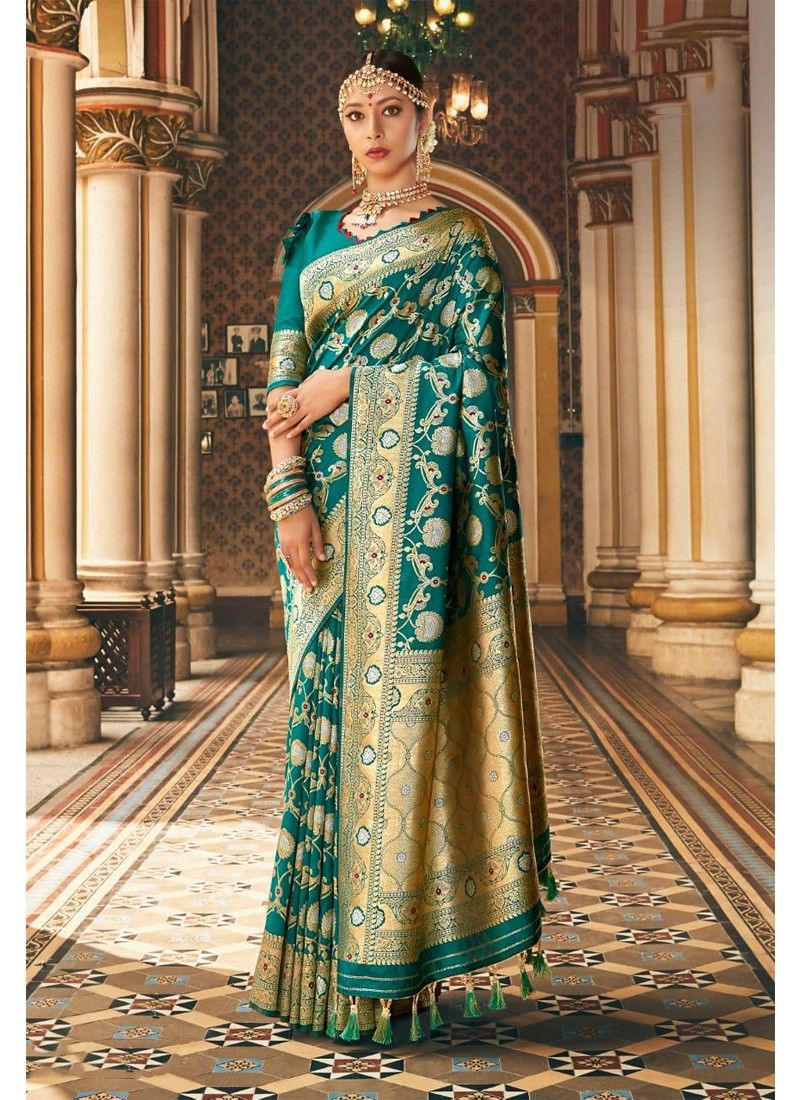 Womens Kanjivaram Pattu Style Green Kanchipuram Silk Saree With Blouse