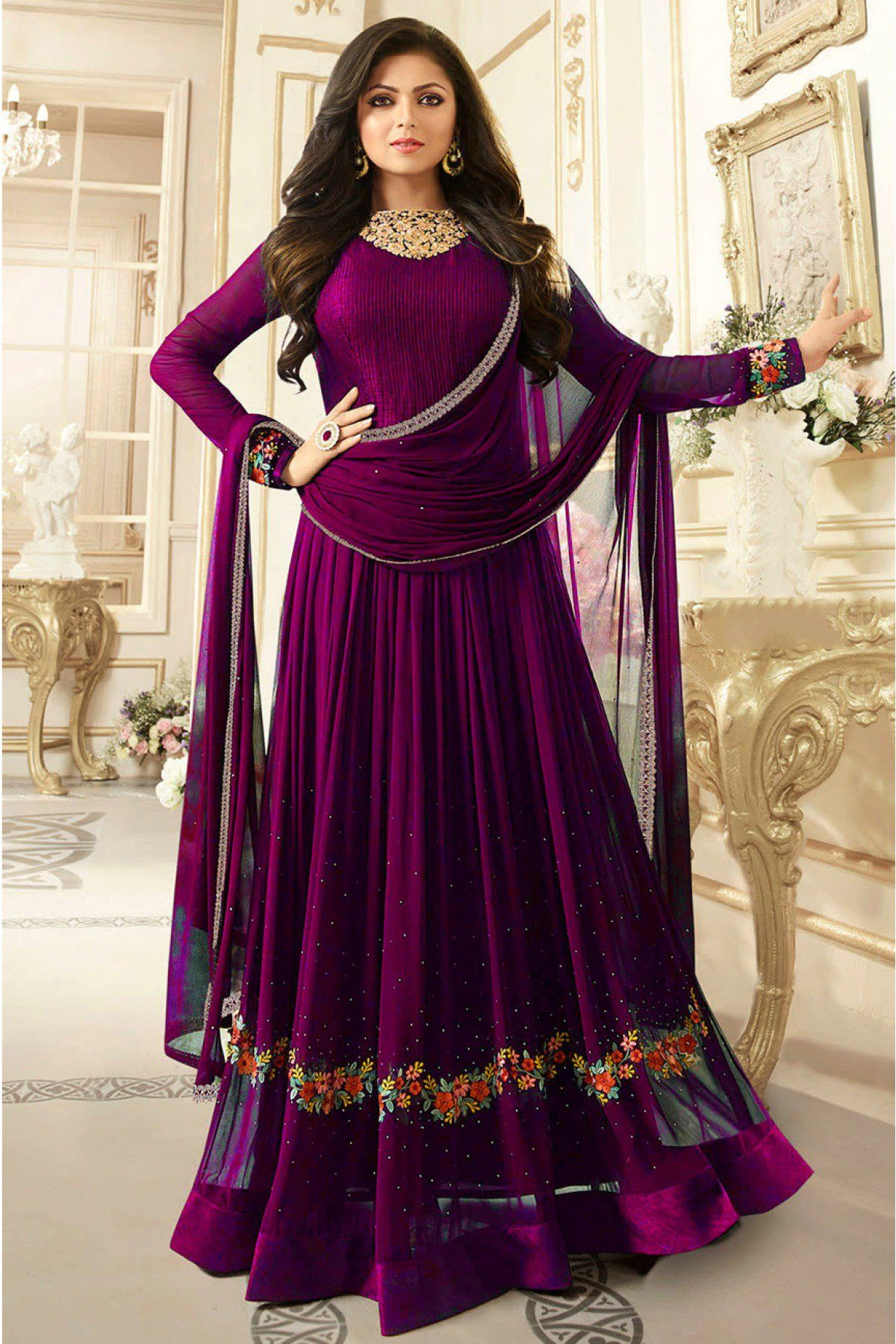 4a94d3dba1 Buy Online Wonderous Floor Length Wine Designer Embroidered Georgette  Salwar Suit - Designer Suit Online