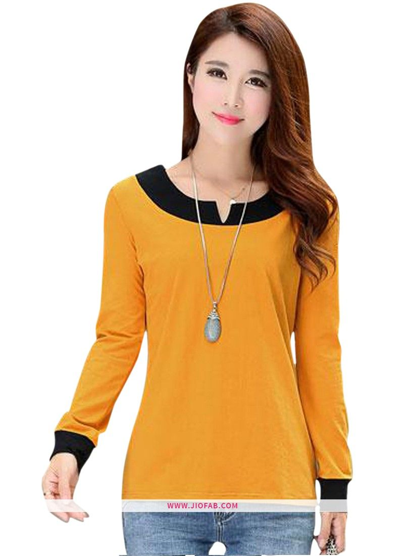 62c38dfb Online Purchase Yellow Color Latest Plain Full Sleeves Girls Trendy T Shirt