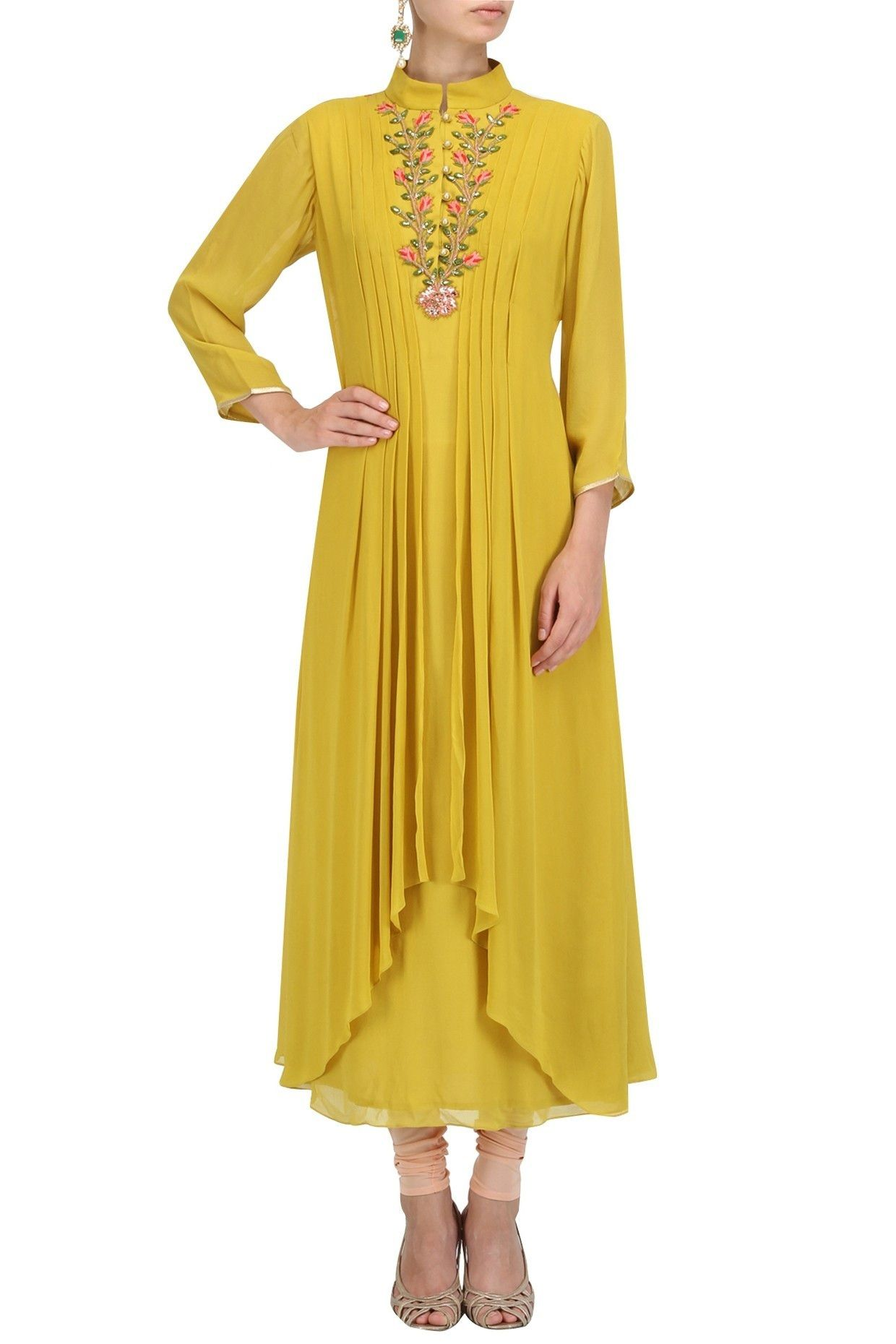 Yellow Designer Embroidered Faux Georgette Ladies Kurti