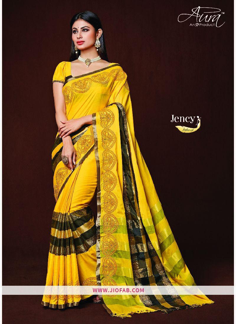 7b6608ef90 Buy Yellow Majesty Jency Aura Pure Cotton Silk Saree India - Majesty - Aura