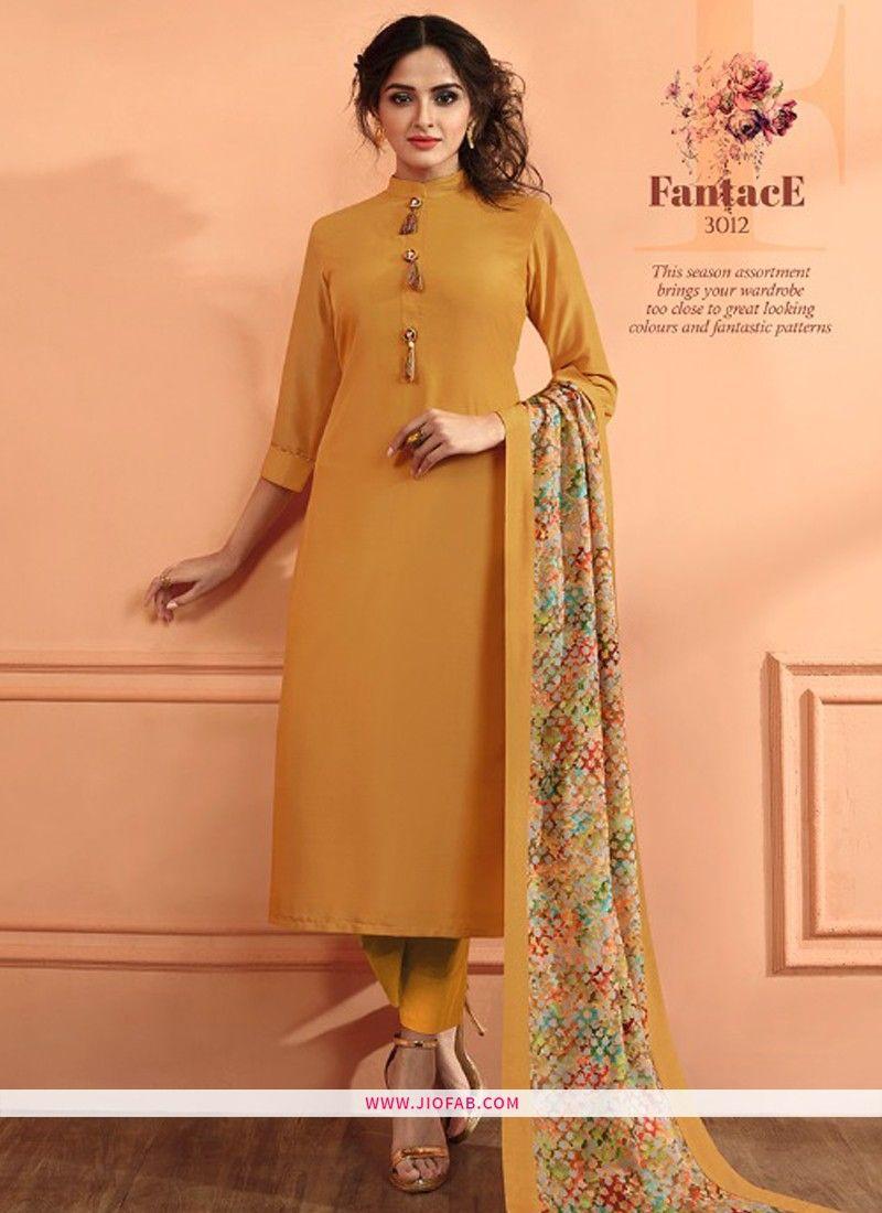 6df7b4ae7 Buy Online Yellow Maslin Plain Designer Salwar Suit