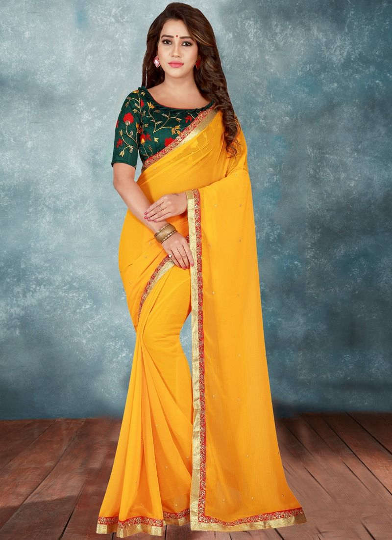 199844a227bd4 Buy Online Yellow Stone Work Georgette Traditional Designer Saree