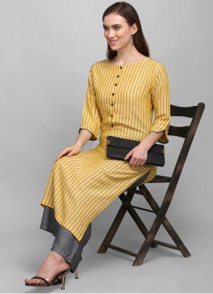 3-4 Sleeves Yellow Printed Pant Style Kurti