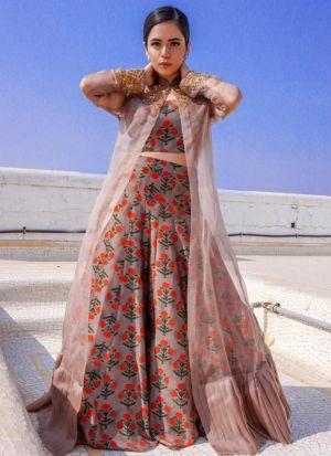 Designer Brown Taffeta Silk Plain Floral Print Designer Indo Western Lehenga Choli