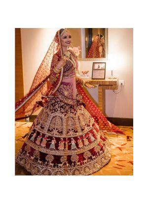9000 Velvet Maroon Color Wedding Bridal Lehenga Choli With Double Dupatta