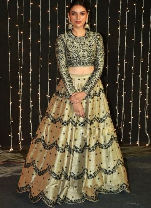 Aditi Rao Hydari Mocha Silk Digital Printed Lehenga Choli With Mono Net Dupatta