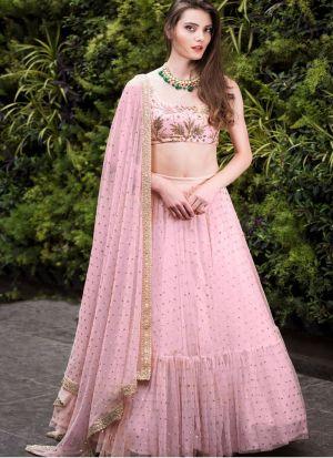Admirable Light Pink Bamberg Georgette Wedding Lehenga Choli