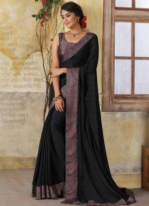 Amazing Black Color Occasion Wear Georgette Saree