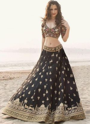 Amazing Black Embroidered Zari Banglori Silk Designer Lehenga Choli