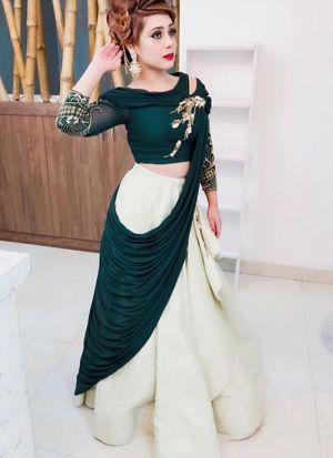 Amazing Green Plain Taffeta Silk Designer Lehenga Choli