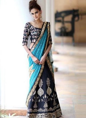 Amazing Navy Heavy Embroidery Zari Banglori Silk Bridal Lehenga Choli