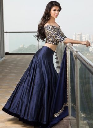 Amazing Navy Plain Mirror Work Banglori Silk Designer Lehenga Choli