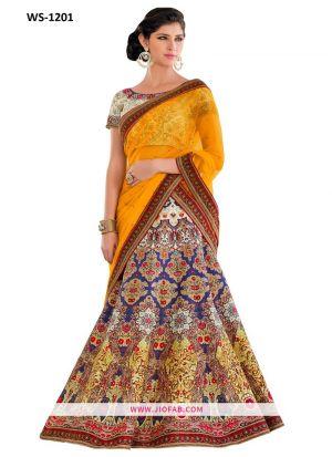 Anarkali Lehenga Satin Silk Multi Color